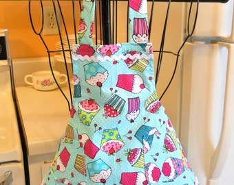 Toddler Little Girl Retro Style Apron with Cupcakes MADE TO ORDER