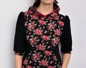 jersey hoodie - black - flowers - polka dots