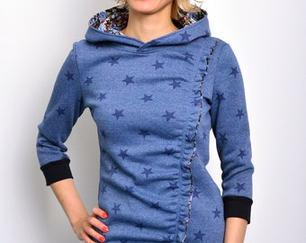 hoody shirt blue stars by STADTKIND