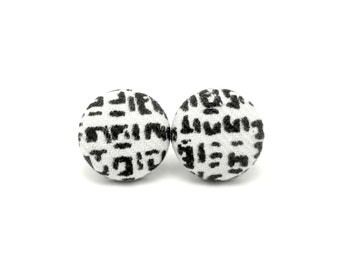 Black white stud earrings - tiny fabric covered button earrings - elegant