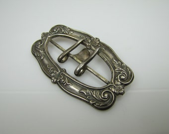 Art Nouveau Sterling Silver Belt Buckle.  C1900 Edwardian Sash Buckle Leaf Scroll Motif.  Antique Late Victorian Jewelry Dress Accessories.