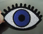 Iron on Patch - Big Eye Patch Blue Eye Patches Eyeball Iron on Applique Embroidered Patch Sew On Patch