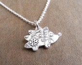 Tiny Hedgehog Necklace, Flowering Vine Hedgehog, Fine Silver, Sterling Silver Chain, Made To Order