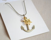 Long Anchor and wheel necklace, 30 inches necklace, nautical necklace, fresh water pearl necklace, charm necklace