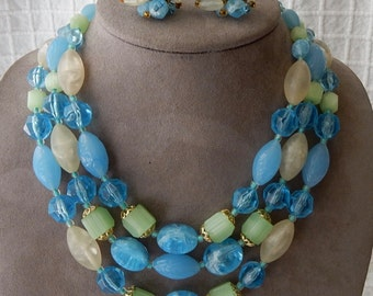 1950s Chunky 3 Strand Blue & Green Bead Choker Necklace and Earrings Set Germany