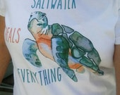 Saltwater Heals Everything Sea Turtle Ladies Round Neck Tshirt - Shelling Life® - Beachwear - Ladies Wear - FREE SHIPPING in US
