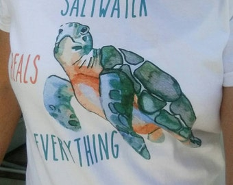 Saltwater Heals Everything Sea Turtle Ladies Round Neck Tshirt - Shelling Life® - Beachwear - Ladies Wear - FREE SHIPPING in US