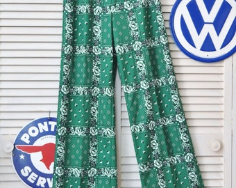 Vintage Womens Mod Polyester 60s Pants/Set of Two/Green Floral & Nautical Red/Theatre Costume Movie Props/Elastic Waist Small Medium destash