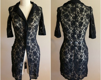 Deadstock 90's Vintage Black Lace Shirt - Size S/M - Goth - Witch - Goth - Festival