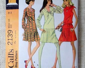 Vintage sewing pattern Butterick 5682 Bust 36 1960s drop waist secretary dress pleated skirt sailor Long sleeve short mini Tennis dress