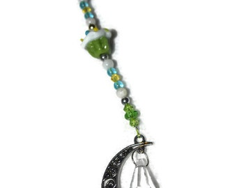 Cupcake , Moon & Crystal Ornament Green and Blue Hanging Beaded Crystal Feng Shui Sparkles Crescent Moon