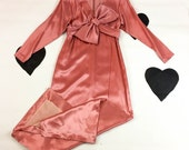 70's 80's satin origami bow formal dress / evening gown / long sleeve / avant garde / salmon pink / long / full length / Dynasty / L / 12