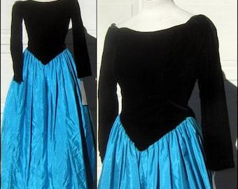 Vintage Cinderella Ball Gown Prom Dress Black Velvet Turquoise Taffeta Original Tags TLC Costume S Size 10 CLEARANCE