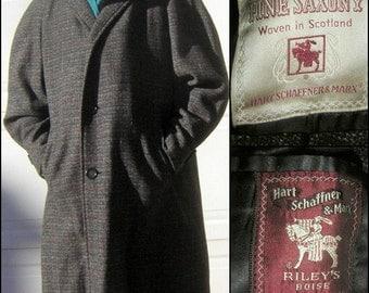 """Men's TWEED Top Coat Vintage 50s 60s Dark Charcoal Gray Woven in SCOTLAND Saxony Wool Mad Men Era 51"""" Chest"""