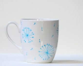 Hand Painted Ceramic Coffee Mug Tea Cup Aqua Dandelion Botanical Design  White  Modern Kitchen Decor Decorative Art