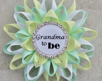 Gender Neutral Baby Shower Decorations, New Grandma Gift, Great Grandma to Be Gift, Aunt to Be, Mommy to Be, Pale Green, Pale Yellow, White