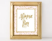 Mimosa Bar Printable Sign, Pink & Gold Glitter Shower Table Sign, 2 Sizes, Wedding Bar Sign, INSTANT DOWNLOAD