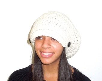 Slouchy Newsboy Hat Crochet, Women, Teen, Beige, Buttons, Hippie, Urban, Ready To Ship,