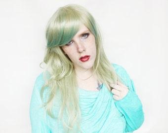 SALE Long Green wig | Gradient wig, Scene wig, Emo wig | Green Emo wig | Ombre Green Scene wig | Tropical Palm