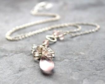 Cascade Rose Quartz Necklace Sterling Silver Cluster Pink Gemstone Tassel Necklace