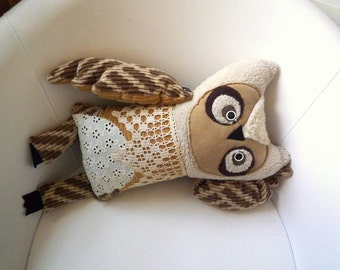 Camilla Owl , soft art creature, toy  by  Wassupbrothers.Nursery decor, owl, teddy buho  boho lacy, stuffed doll unique soft friend recycled
