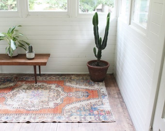 vintage Turkish rug,  faded rustic overdyed rug, coral and periwinkle area rug, 7.0'x 4.5'