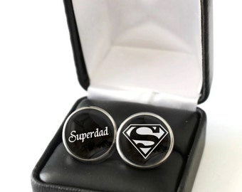 Father's Day Gift from Children, Dad Cufflinks, Superdad Gift for Dad, Fathers Day gift for Husband, Gift for Father, Dad Hero Cufflinks