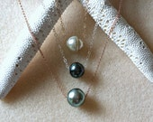 Floating Tahitian Pearl Necklace, Tahitian Pearl Solitaire Necklace, Peacock Pearl, Green Tahitian Pearl, Ivory Tahitian Pearls