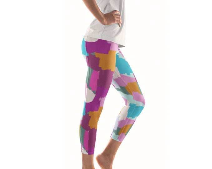 Me And You Mingled in the Dark Artist Leggings // ethical bold yoga pants designer leggings in abstract painted patterns by lisa barbero