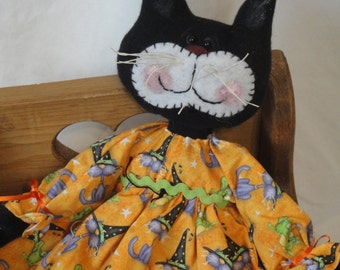 Halloween Black Cat, kitty cat, cloth doll, hand made by Morning Mist Designs
