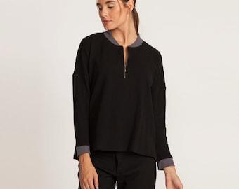 Black sweatshirt, scoop neck shirt, zipper sweatshirt, loose fit, long sleeves sweatshirt, oversized sweatshirt,
