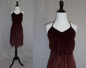 70s Halter Dress - Brown Velour - Cavewoman Flame Hem - Vintage 1970s - S