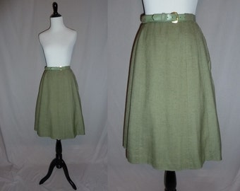 "50s A-Line Skirt - Muted Sage Green - Slubbed Texture - Rayon Dacron Blend - Vintage 1950s - 30"" waist"