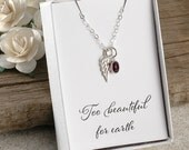 Miscarriage necklace, infant loss jewelry, Too beautiful for earth, baby loss, memorial for baby, stillborn gift, wing and birthstone
