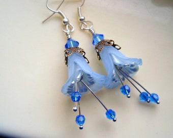 Blue Earrings, Flower Earrings, Silver Earrings, Blue Swarovski Crystal Earrings