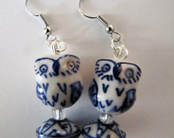 Dutch Blue Owl Earrings