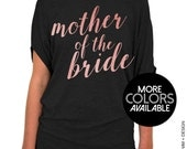 Mother of the Bride Shirt - Rose and Pearl Collection - Black Slouchy Tee (Small-Plus Sizes) - Gold. Rose Gold. Silver Ink Available