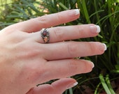 Vintage--ARTISAN --- Sterling Silver and Gold Accents--GARNET --Ring- Sz 7