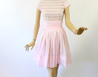 Vintage 50s Day Dress Pink Cotton Lace Top Full Flirty Skirt Dress  Size Small Bust 36