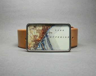 Belt Buckle Vintage Duluth Minnesota Lake Superior Map for Men or Women