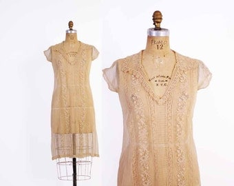 Vintage 20s DRESS / 1920s Antique Beige Embroidered Net Lace Bridal Wedding Dress