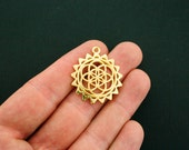 4 Flower of Life Pendant Charms Gold Tone - GC910