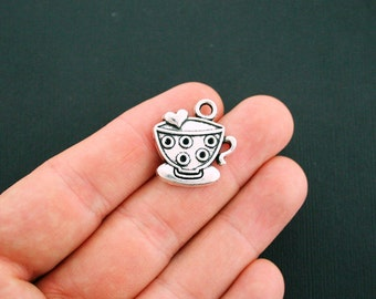 BULK 30 Tea Charms Antique Silver Tone Cup and Saucer Charms - SC5903