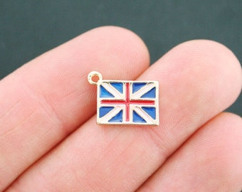 6 British Flag Charms Goldplated Enamel Fun and Colorful E215