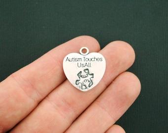 4 Autism Charms Antique Silver Tone Autism Touches Us All  - SC2404