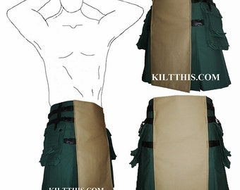 Interchangeable Green Khaki 10oz Canvas Hiker Utility Kilt Adjustable Custom Fit with Large Expanding Cargo Pockets