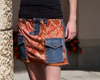 Jean skirt with Balinese ikat - recycled denim and handwoven fabrics - GENUINE IKAT