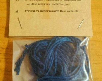 Linen Tzitzit 4 P'til Tekhelet blue cords only ציצית פשתן כשרה KOSHER Shatnez free certified and Wet  Hand spun with Lishma
