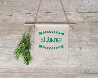 Wall Decor St. Patrick's Day Wall Hanging Irish Slainte Gaelic Shamrock Linen Flag Rustic Banner Pennant Chevron Home Decor