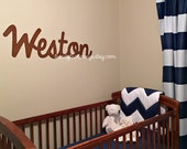 Large Wooden Script Name, Word, or Phrase, Cursive Letters- wooden letters for your home, accent wall, child's room, or nursery- unpainted